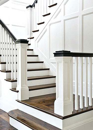 one side open staircase with spindles